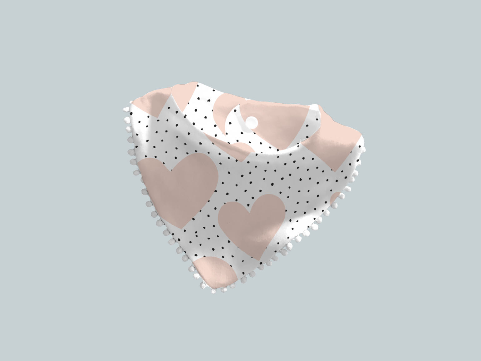 Bib Scarf with Trim - Hearts and Dots