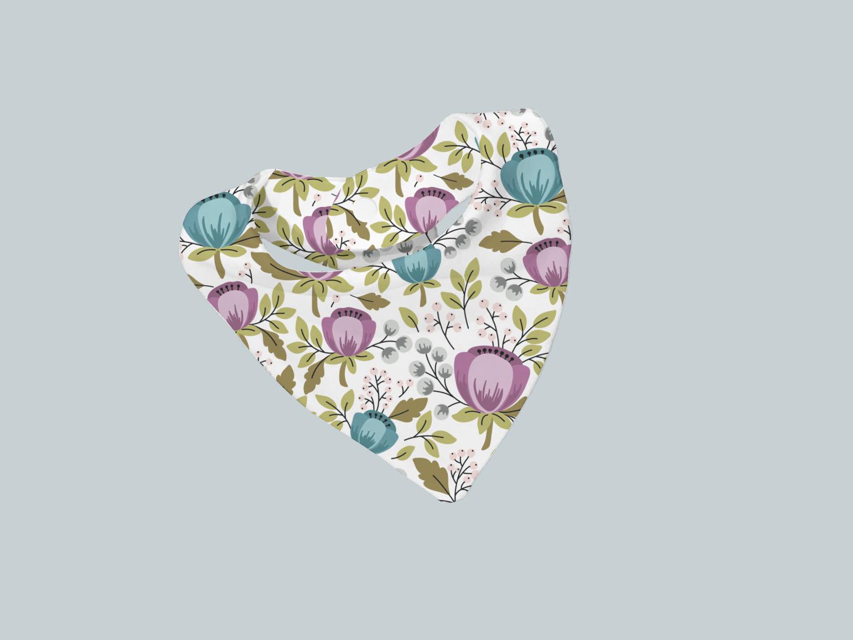 Bib Scarf - Floral Teal Purple
