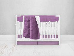 Bumperless Crib Set with Pleated Skirt Modern Rail Covers - Purple
