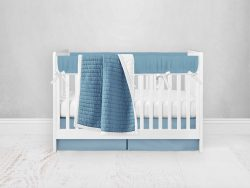 Bumperless Crib Set with Pleated Skirt Modern Rail Covers - Bright Blue