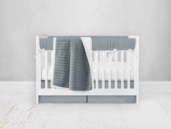 Bumperless Crib Set with Pleated Skirt Modern Rail Covers - Gray Green