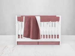 Bumperless Crib Set with Pleated Skirt Modern Rail Covers - Rose