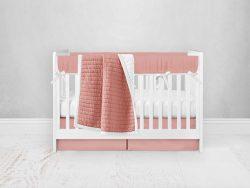 Bumperless Crib Set with Pleated Skirt Modern Rail Covers - Peach