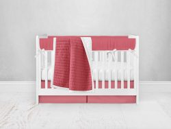 Bumperless Crib Set with Pleated Skirt Modern Rail Covers - Coral