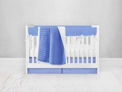 Bumperless Crib Set with Pleated Skirt Modern Rail Covers - Periwinkle