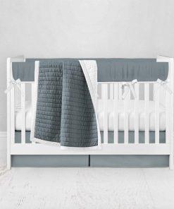 Bumperless Crib Set with Pleated Skirt Modern Rail Covers - Dark Gray