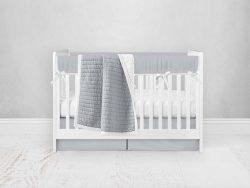 Bumperless Crib Set with Pleated Skirt Modern Rail Covers - Light Gray