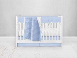 Bumperless Crib Set with Pleated Skirt Modern Rail Covers - Blue