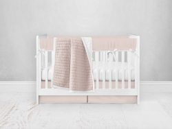 Bumperless Crib Set with Pleated Skirt Modern Rail Covers - Pink