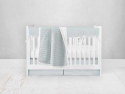 Bumperless Crib Set with Pleated Skirt Modern Rail Covers - Light Blue