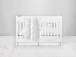 Bumperless Crib Set with Pleated Skirt Modern Rail Covers - White