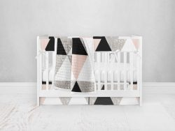 Bumperless Crib Set with Pleated Skirt Modern Rail Covers - Geo Check Pink