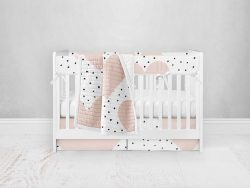 Bumperless Crib Set with Pleated Skirt Modern Rail Covers - Hearts and Dots