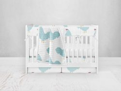 Bumperless Crib Set with Pleated Skirt Modern Rail Covers - Chicken Chick