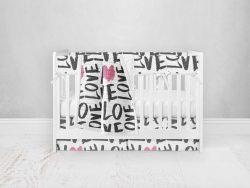 Bumperless Crib Set with Pleated Skirt Modern Rail Covers - Love Everywhere