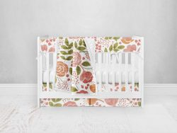 Bumperless Crib Set with Pleated Skirt Modern Rail Covers - Coral Flowers