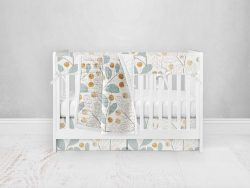 Bumperless Crib Set with Pleated Skirt Modern Rail Covers - Wall Flower