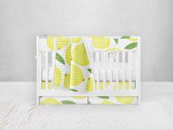 Bumperless Crib Set with Pleated Skirt Modern Rail Covers - Lively Lemons