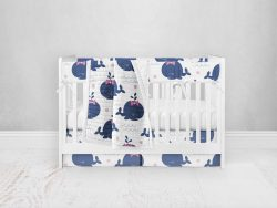 Bumperless Crib Set with Pleated Skirt Modern Rail Covers - Happy Whale