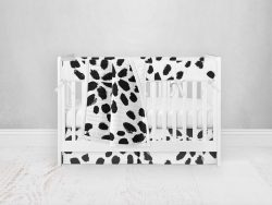 Bumperless Crib Set with Pleated Skirt Modern Rail Covers - Spotted Dottie