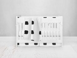 Bumperless Crib Set with Pleated Skirt Modern Rail Covers - Checked