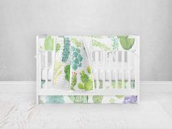 Bumperless Crib Set with Pleated Skirt Modern Rail Covers - Prickly