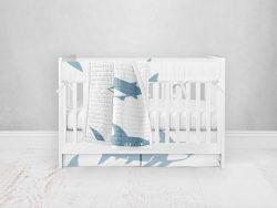 Bumperless Crib Set with Pleated Skirt Modern Rail Covers - Sharky