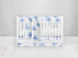 Bumperless Crib Set with Pleated Skirt Modern Rail Covers - Blue Violet