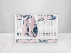 Bumperless Crib Set with Pleated Skirt Modern Rail Covers - Blue & Pink Tigers