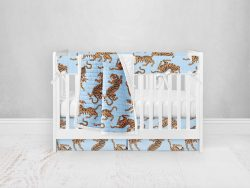 Bumperless Crib Set with Pleated Skirt Modern Rail Covers - Blue & Yellow Tigers