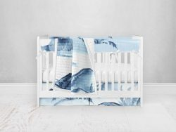 Bumperless Crib Set with Pleated Skirt Modern Rail Covers - Island Dreams