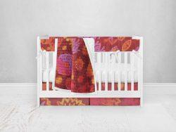 Bumperless Crib Set with Pleated Skirt Modern Rail Covers - Bold Flower
