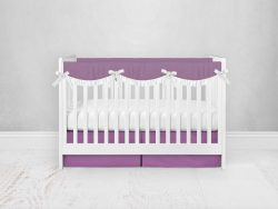Bumperless Crib Set with Pleated Skirtand Scalloped Rail Covers - Purple