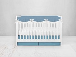 Bumperless Crib Set with Pleated Skirtand Scalloped Rail Covers - Bright Blue
