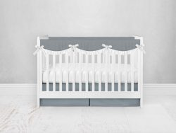 Bumperless Crib Set with Pleated Skirtand Scalloped Rail Covers - Gray Green