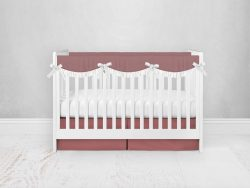 Bumperless Crib Set with Pleated Skirtand Scalloped Rail Covers - Rose