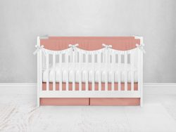 Bumperless Crib Set with Pleated Skirtand Scalloped Rail Covers - Peach
