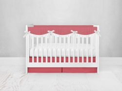 Bumperless Crib Set with Pleated Skirtand Scalloped Rail Covers - Coral