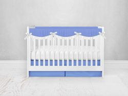 Bumperless Crib Set with Pleated Skirtand Scalloped Rail Covers - Periwinkle