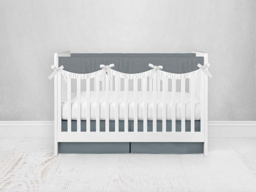Bumperless Crib Set with Pleated Skirtand Scalloped Rail Covers - Dark Gray