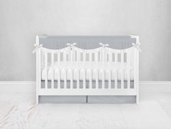 Bumperless Crib Set with Pleated Skirtand Scalloped Rail Covers - Light Gray
