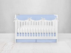 Bumperless Crib Set with Pleated Skirtand Scalloped Rail Covers - Blue