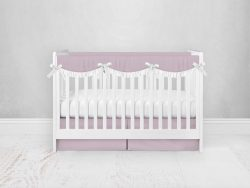 Bumperless Crib Set with Pleated Skirtand Scalloped Rail Covers - Bright Pink