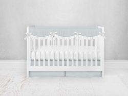 Bumperless Crib Set with Pleated Skirtand Scalloped Rail Covers - Light Blue