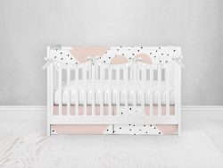 Bumperless Crib Set with Pleated Skirtand Scalloped Rail Covers - Hearts and Dots