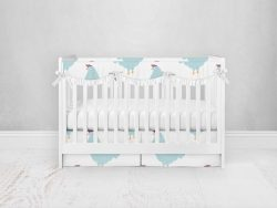 Bumperless Crib Set with Pleated Skirtand Scalloped Rail Covers - Chicken Chick