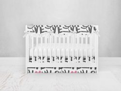 Bumperless Crib Set with Pleated Skirtand Scalloped Rail Covers - Love Everywhere