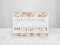 Bumperless Crib Set with Pleated Skirtand Scalloped Rail Covers - Coral Flowers