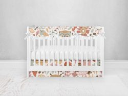 Bumperless Crib Set with Pleated Skirtand Scalloped Rail Covers - Owl Folk