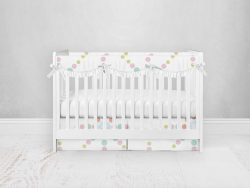 Bumperless Crib Set with Pleated Skirtand Scalloped Rail Covers - Starlight